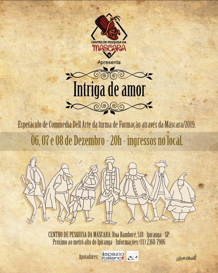 """""""Intriga de amor"""" – Espetáculo da turma de Formação através da Máscara/2019"""